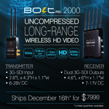 Teradek Bolt Pro 2000 Zero Delay Wireless Video Transmitter: