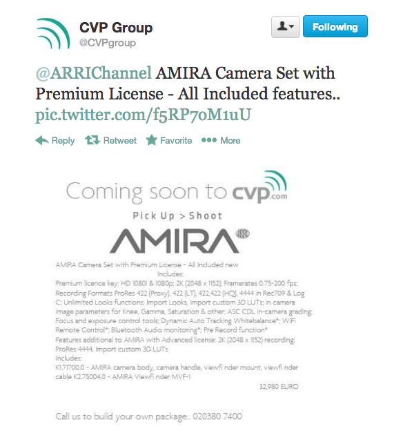 AMIRA Camera Set with Premium License - All Included features