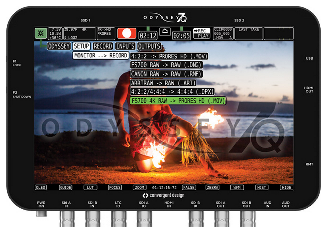 Odyssey7Q 1.1.105 Update Includes ProRes 422 HQ & FS700 4K RAW Recording up to 60p: