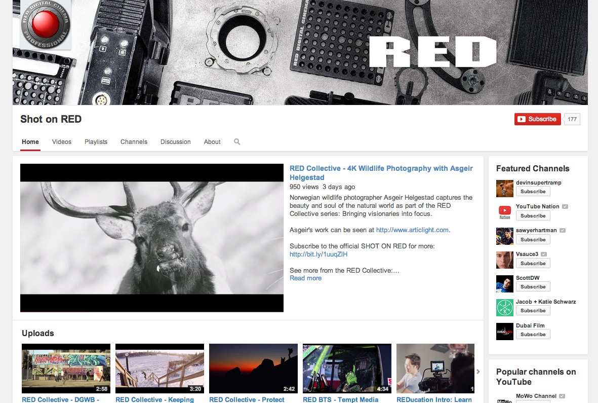 Shot On RED YouTube Channel Opens:
